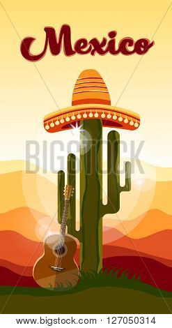 Mexican Traditional Hat Sombrero Guitar Cactus Sunset Mexico Background Flat Vector Illustration