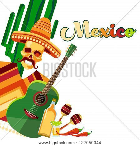 Skeleton Wear Mexican Traditional Sombrero Clothes With Guitar Tequila With Copy Space Flat Vector Illustration