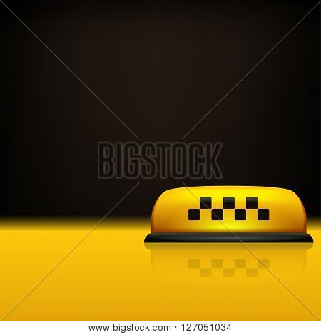 illustration of taxi sign on yellow surface on dark background