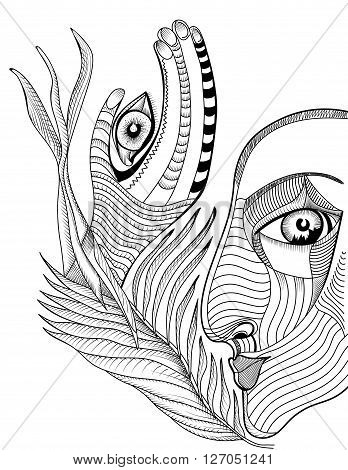 Abstract surreal face and hand with mehndi tattoo. Hand drawing vector template can use for posters cards stickers illustrations t-shirt art as decorative element.