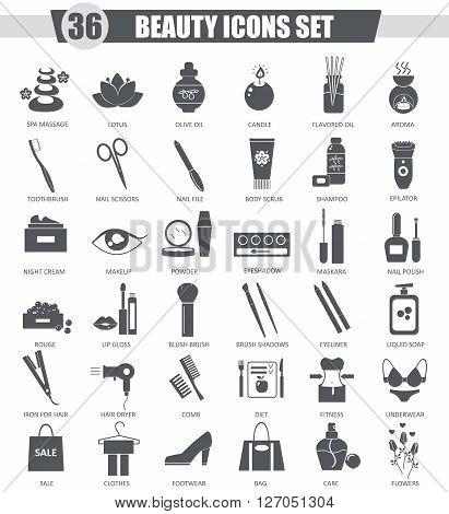Vector Beauty and cosmetics black icon set. Dark grey classic icon design for web