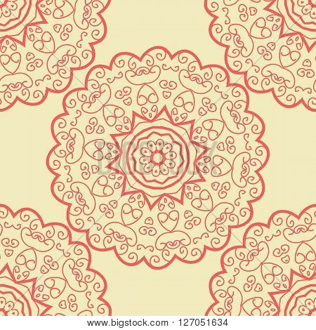 Seamles Doodle based Tile Print Red Wallpaper Element