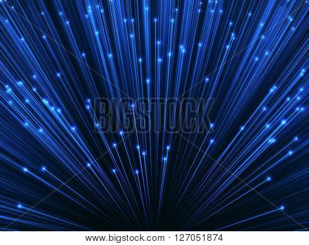 3D image concept of optical fiber. Glare effect on the tips of the optical fiber.