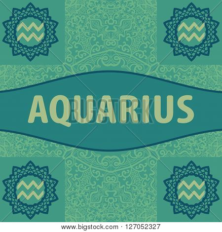 Hand-drawn zodiac Aquarius with ethnic floral geometric doodle pattern oriental style. Western Horoscope Symbol. Vector illustration. The Water Bearer. Zodiac icon with mandala print. Vector icon.