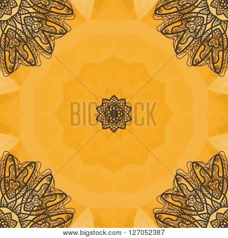 Indian Art Seamless Print.  Oriental vector pattern. Islamic, Arabic, Indian, Turkish, Pakistan, Chinese, Asian, Moroccan, Ottoman motifs. Mandala outlined.