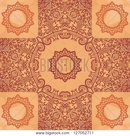 Elegant Asian Print on Henna Seamless Texture background. Vintage decorative element on endless texture. Hand drawn background. Islamic, Arabic, Indian, Asian, Ottoman motifs.