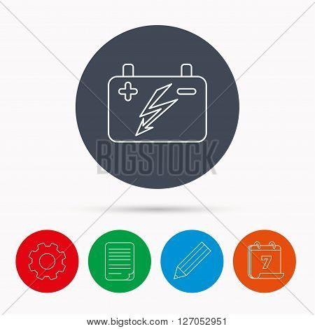 Accumulator icon. Electrical battery sign. Calendar, cogwheel, document file and pencil icons.