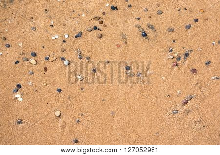 Natural background made of wet sand and pebbles