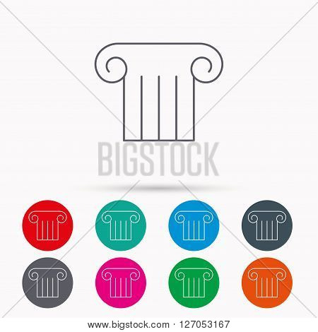 Antique column icon. Ancient museum sign. Architectural pillar symbol. Linear icons in circles on white background.