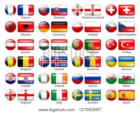 Set of Icon Flags of the 24 Participant Countries That Will Play in France in final of the European Soccer Tournament 2016. Icons are in Two Shapes Circle and Rectangle. Vector Illustration.