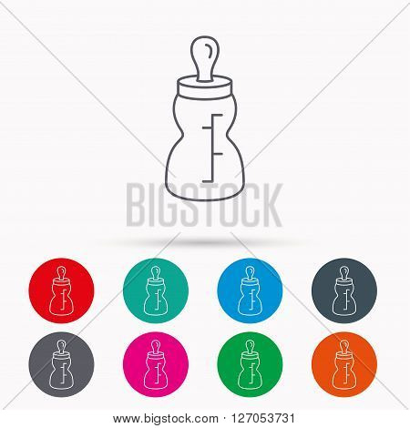 Baby feeding bottle icon. Drink glass with pacifier sign. Child food symbol. Linear icons in circles on white background.