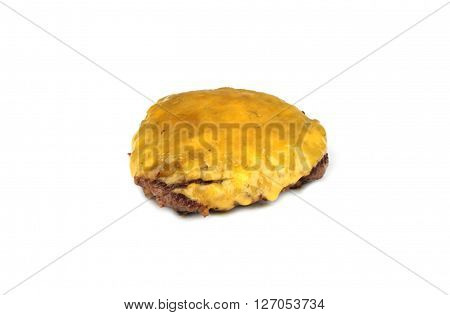 Grilled hamburger with cheddar cheese on white background.