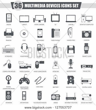 Vector Multimedia devices black icon set. Dark grey classic icon design for web