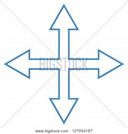 Maximize Arrows vector icon. Style is contour icon symbol, cobalt color, white background.