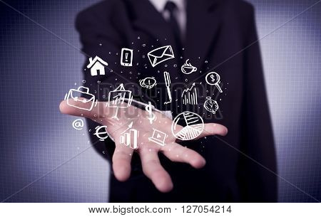 A successful business person has control over everyday tasks concept holding logos, icons in its hand with purple background