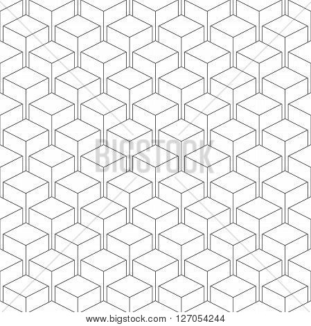 Seamless isometric pattern of cubes vector linear background of delicate lines black and white geometric contemporary ornament
