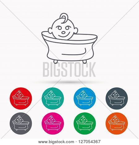 Baby in bath icon. Toddler bathing sign. Newborn washing symbol. Linear icons in circles on white background.