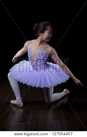 Young Ballerina Wearing Pointe Shoes And Tutu In Dance Pose