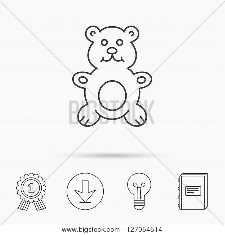 Teddy-bear icon. Baby toy sign. Plush animal symbol. Download arrow, lamp, learn book and award medal icons.