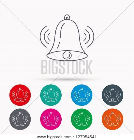 Ringing bell icon. Sound sign. Alarm handbell symbol. Linear icons in circles on white background.