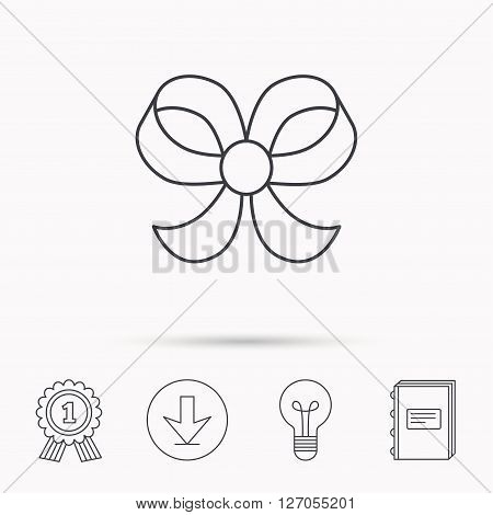 Bow icon. Gift bow-knot sign. Download arrow, lamp, learn book and award medal icons.