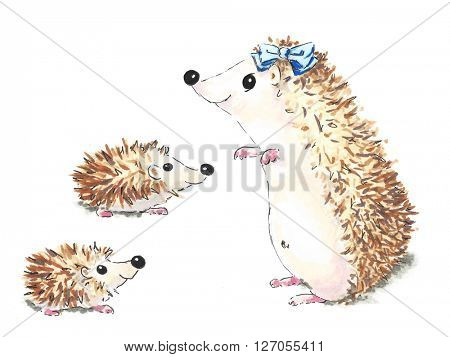 Illustration of hedgehog mother and children isolated over white