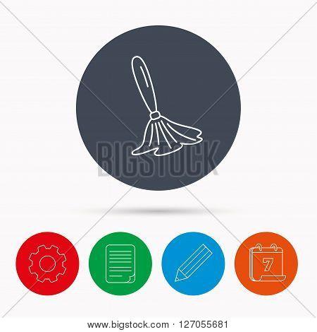 Brush icon. Paintbrush tool sign. Artist instrument symbol. Calendar, cogwheel, document file and pencil icons.