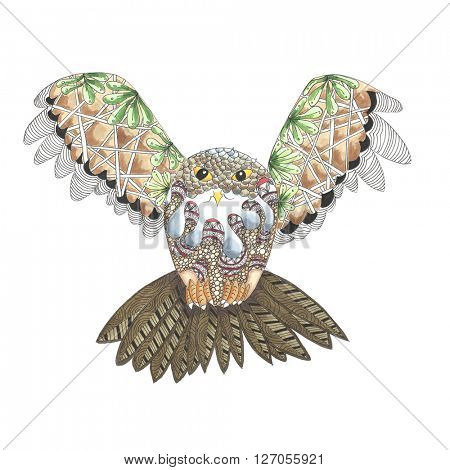 Illustration of hand drawn flying owl