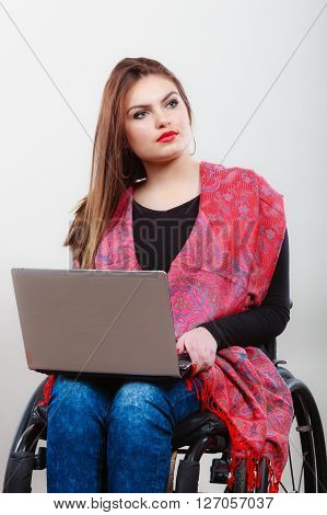 Woman Invalid Girl On Wheelchair Using Computer