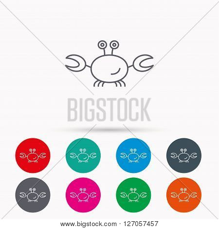 Crab icon. Cancer shellfish sign. Wildlife symbol. Linear icons in circles on white background.