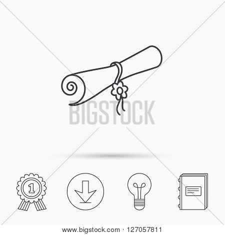 Diploma icon. Graduation document sign. Scroll symbol. Download arrow, lamp, learn book and award medal icons.