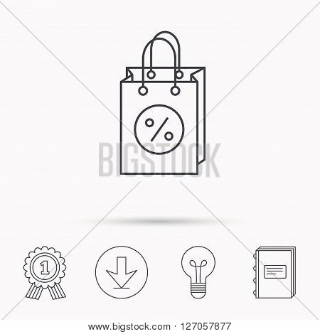 Shopping bag icon. Sale and discounts sign. Supermarket handbag symbol. Download arrow, lamp, learn book and award medal icons.