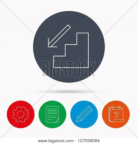 Downstairs icon. Direction arrow sign. Calendar, cogwheel, document file and pencil icons.