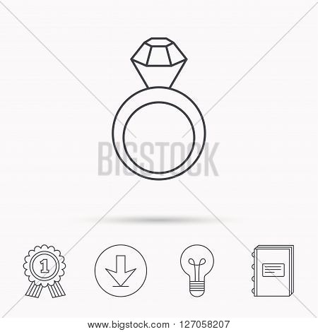 Engagement ring icon. Jewellery with diamond sign. Download arrow, lamp, learn book and award medal icons.