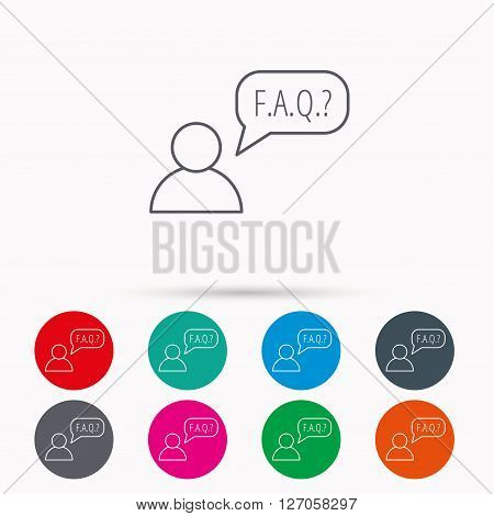 FAQ service icon. Support speech bubble sign. Human symbol. Linear icons in circles on white background.