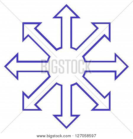 Enlarge Arrows vector icon. Style is stroke icon symbol, violet color, white background.