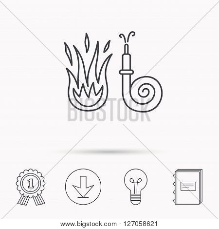 Fire hose reel icon. Fire station sign. Download arrow, lamp, learn book and award medal icons.
