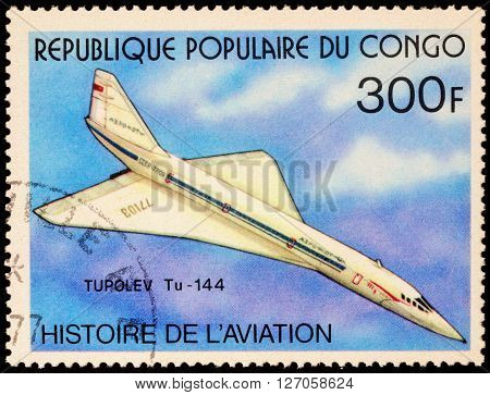 MOSCOW RUSSIA - APRIL 22 2016: A stamp printed in Congo shows Russian supersonic passenger airliner Tupolev Tu-144 series