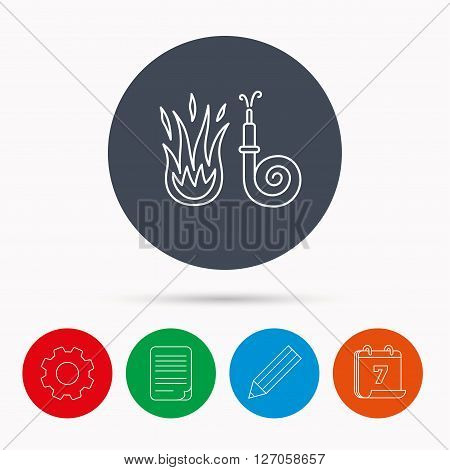 Fire hose reel icon. Fire station sign. Calendar, cogwheel, document file and pencil icons.