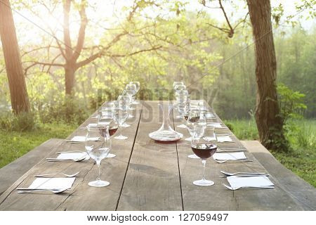 Outdoor restaurant during beautiful sunset in summertime
