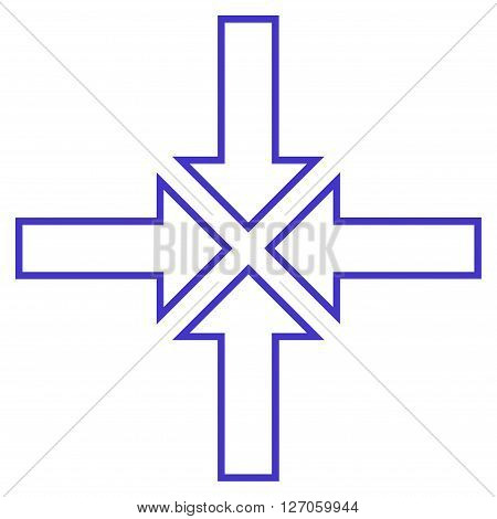 Meeting Point vector icon. Style is stroke icon symbol, violet color, white background.
