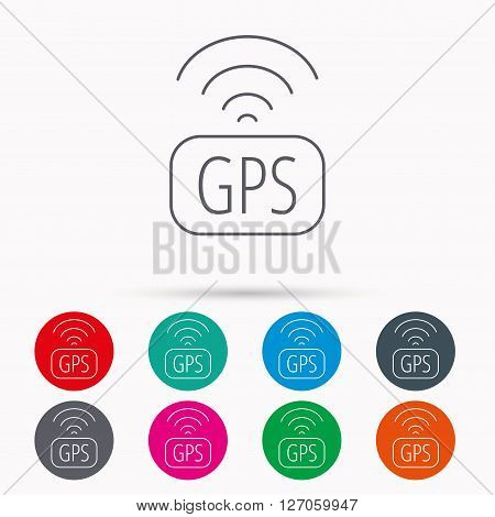 GPS navigation icon. Map positioning sign. Wireless signal symbol. Linear icons in circles on white background.