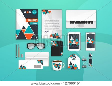Colorful Corporate identity template set. Business stationery mock-up for branding design. Letter envelope, card, catalog, pen, pencil, notebook, tablet pc, mobile phone, letterhead, brochure cover