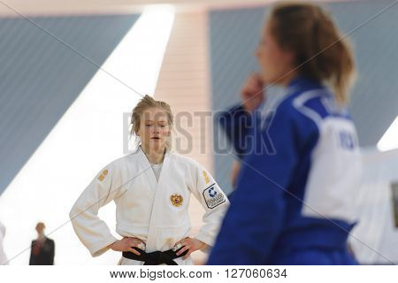 ST. PETERSBURG, RUSSIA - APRIL 16, 2016: Daria Pichkaleva of Russia (white) in the match against Kim Akker of Netherlands during the Junior European Judo Cup. Daria took 2nd place in category -48 kg