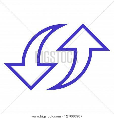 Replace Arrows vector icon. Style is outline icon symbol, violet color, white background.
