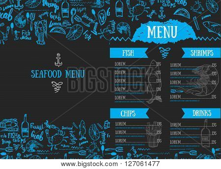 Vector modern seafood menu design. Hand drawn seafood menu. Great for menu flyer, card, seafood menu business promotion