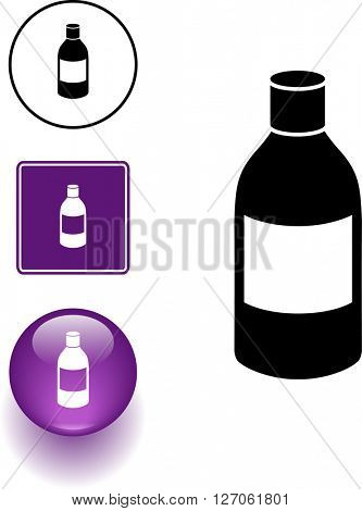 medicine bottle symbol sign and button