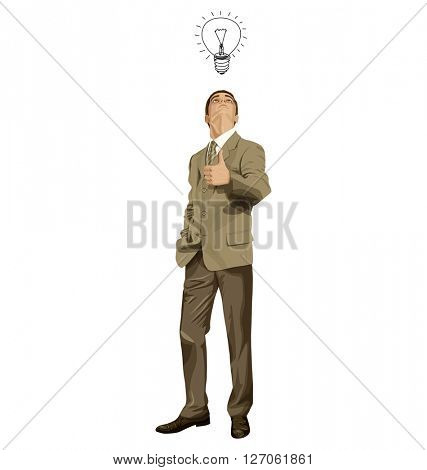 Vector hipster business man shows well done, looking up, looking for idea,