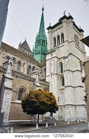 The front view of St. Pierre Cathedral in Geneva, Switzerland