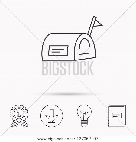 Mailbox with flag icon. Post email box sign. Download arrow, lamp, learn book and award medal icons.